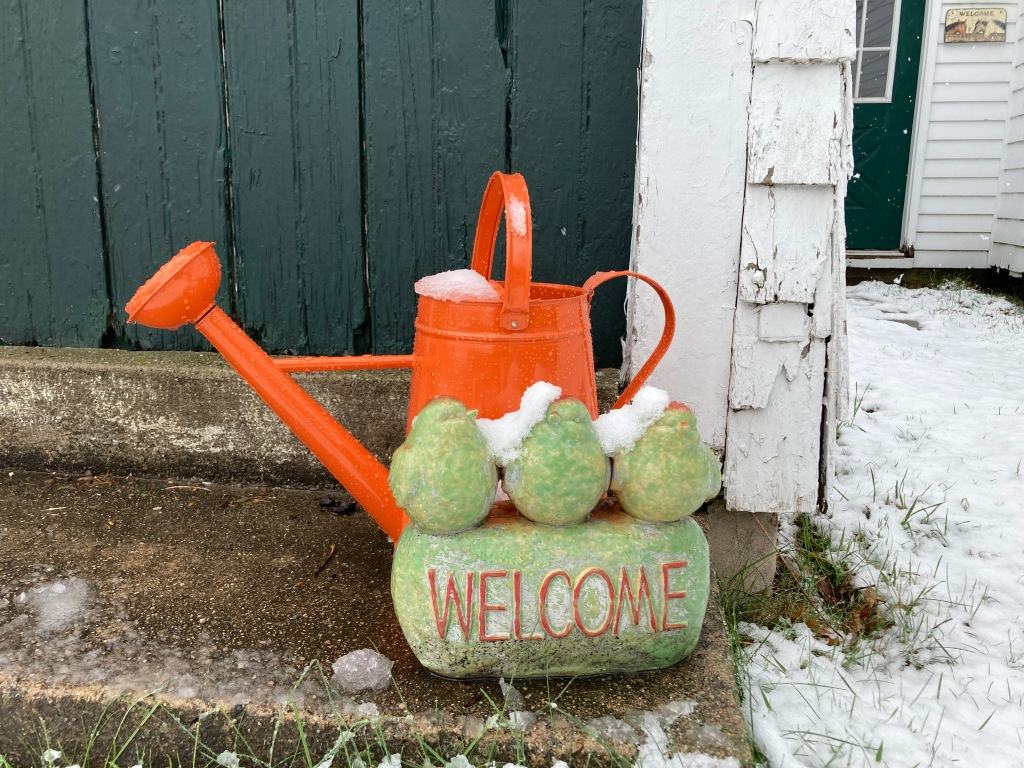 "watering can for flowers and vegetables sits behind a stone sculpture of 3 birds, with a ""welcome"" sign, covered with sone"